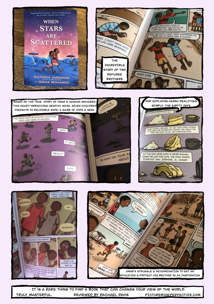 When Stars Are Scattered - Graphic Review by Rachael Davis PictureBookPerfect