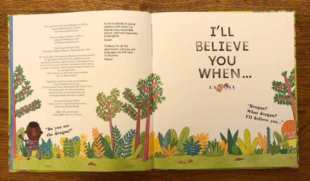 I'll Believe You When by Susan Schubert and Raquel Bonita Lantana Publishing