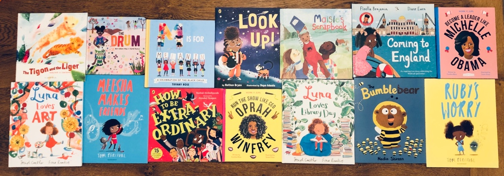 twenty picture books (fiction and non-fiction) that feature Black, Asian or Minority Ethnic main characters.