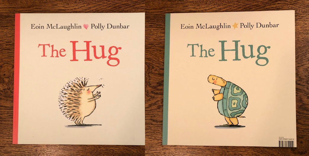 Front and back book cover The Hug and While We Can't Hug by Eoin McLaughlin & Polly Dunbar Faber