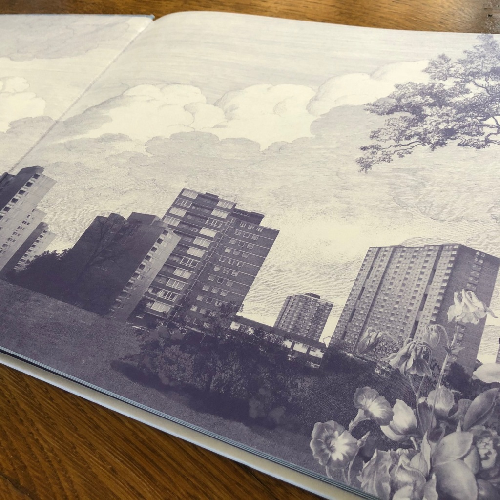 The Invisible by Tom Percival end papers scene of blocks of flats