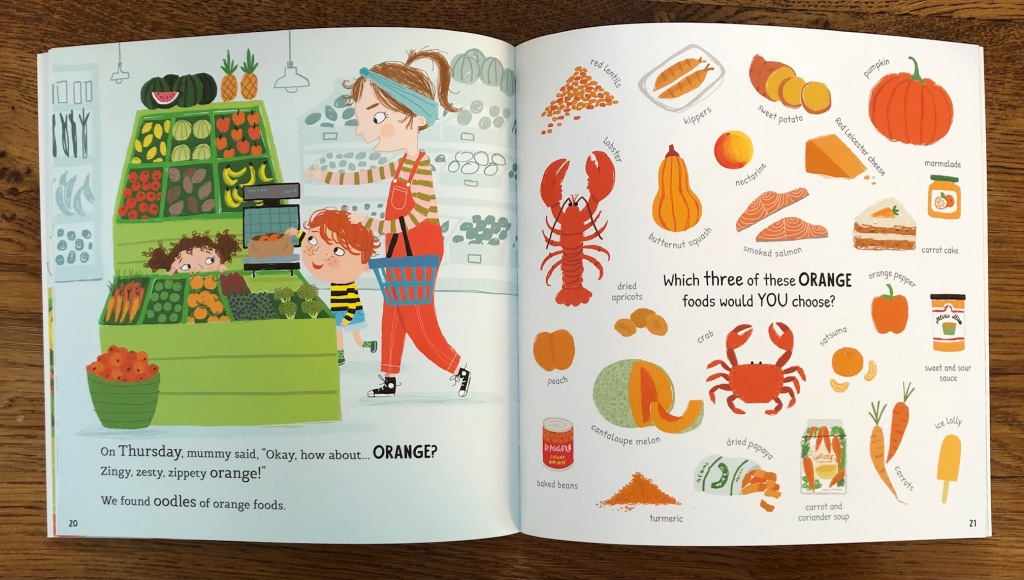 Which Food Will You Choose? by Claire Potter & Ailie Busby Bloomsbury Education lots of orange foods