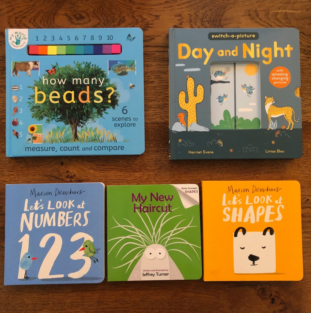 Five STEM Board Books. How Many Beads? Day and Night. Let's Look at Numbers. My New Haircut. Let's Look at Shapes.
