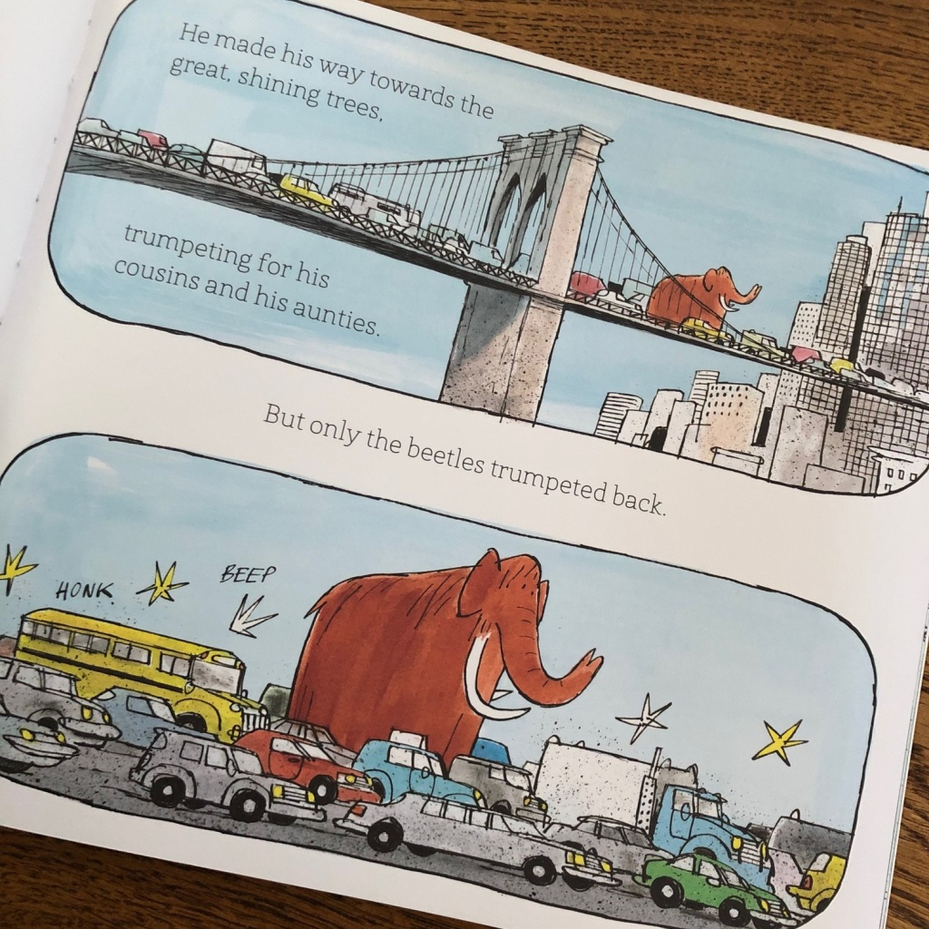 An Ice Age Mammoth in modern day picture book by Anna Kemp and Adam Beer Simon and Schuster