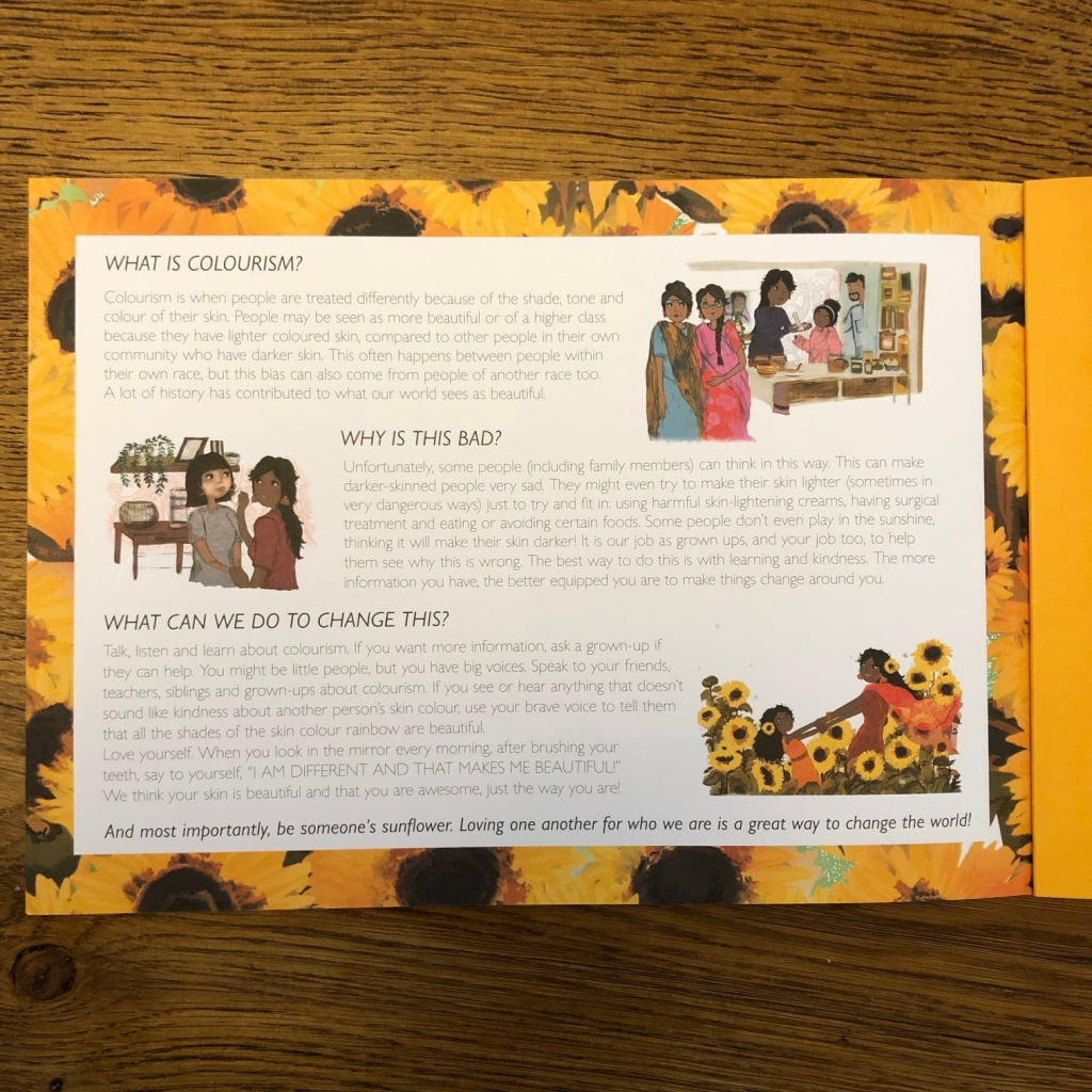 Sunflower Sisters by Monika Singh Gangotra & Michaela Dias-Hayes Owlet Press Picture Book on Colourism