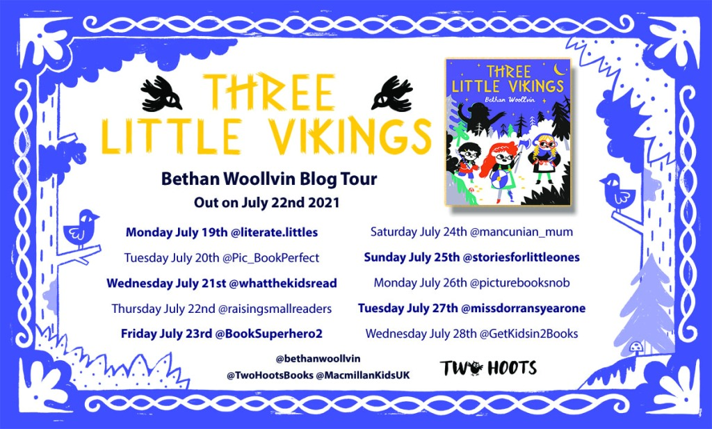 Blog tour card Three Little Vikings by Bethan Woollvin